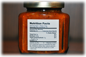 hellish relish nutrition label